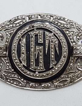 "Sterling Silver Vintage Marcasite & Onyx Brooch – Very Large Ornate Monogrammed ""IGT"""