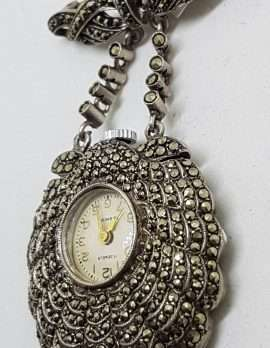 Sterling Silver Vintage Marcasite Shell Shaped Nurses Watch / Brooch