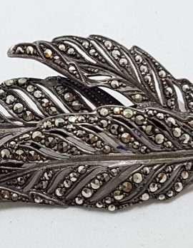 Sterling Silver Vintage Marcasite Brooch – Very Large Leaf