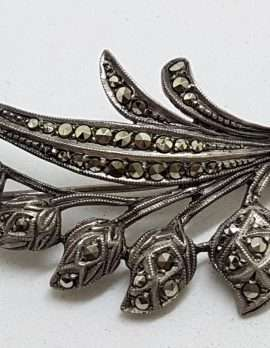 Sterling Silver Vintage Marcasite Brooch – Large Lily of the Valley Flower