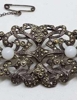 Sterling Silver Vintage Marcasite & Onyx Brooch – Very Large Ornate Filigree with White