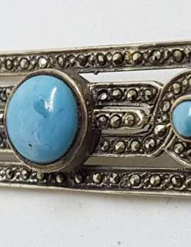 Sterling Silver Vintage Marcasite & Onyx Brooch – Wide With Larimar