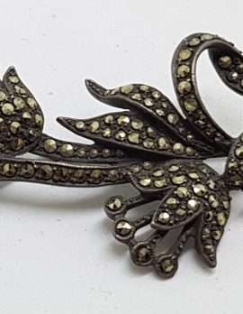 Sterling Silver Vintage Marcasite Brooch – Large Lily Flower Bouquet