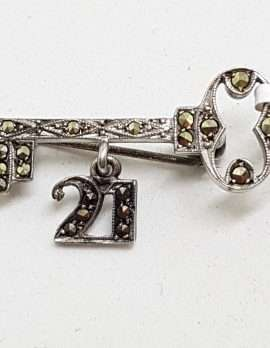 Sterling Silver Vintage Marcasite Brooch – 21st Birthday Key