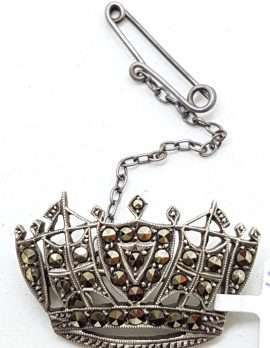Sterling Silver Vintage Marcasite Brooch – Crown