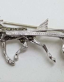 Sterling Silver Vintage Marcasite Brooch – Harness Racing - Horse Trotter / Trotting