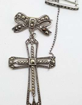 Sterling Silver Vintage Marcasite Brooch – Large Cross / Crucifix on Bow