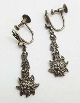 Sterling Silver Vintage Marcasite Screw-On Earrings - Edelweiss Flower Long Drop