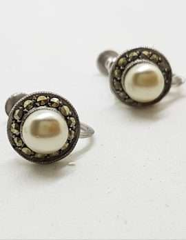 Sterling Silver Vintage Marcasite Screw-On Earrings - Round Pearl