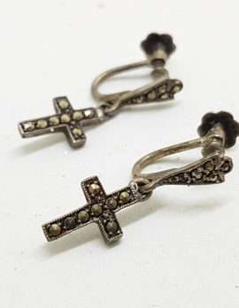 Sterling Silver Vintage Marcasite Screw-On Earrings - Long Cross / Crucifix Drop