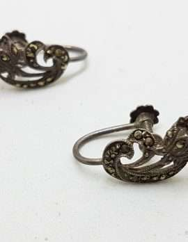 Sterling Silver Vintage Marcasite Screw-On Earrings - Curved Flower
