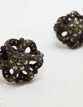 Sterling Silver Vintage Marcasite Screw-On Earrings - Ornate Flower