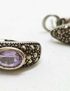 Sterling Silver Vintage Marcasite Earrings - Amethyst