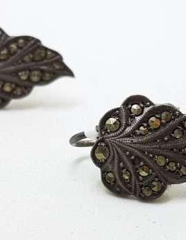 Sterling Silver Vintage Marcasite Screw-On Earrings - Leaf