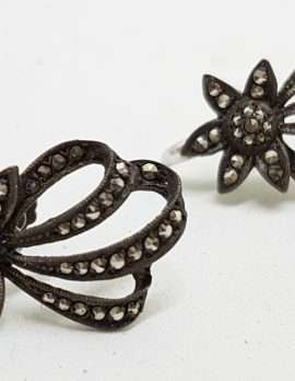 Sterling Silver Vintage Marcasite Screw-On Earrings - Star Burst
