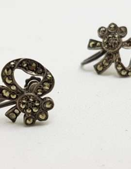 Sterling Silver Vintage Marcasite Screw-On Earrings - Flower / Bow