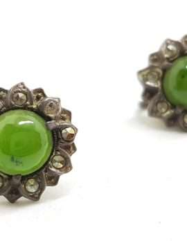 Sterling Silver Vintage Marcasite Screw-On Earrings - Flower with Jade