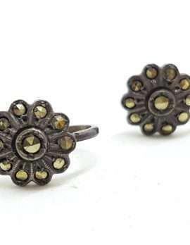 Sterling Silver Vintage Marcasite Screw-On Earrings - Round Flower