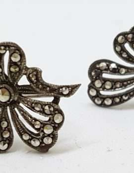 Sterling Silver Vintage Marcasite Screw-On Earrings - Large Bow