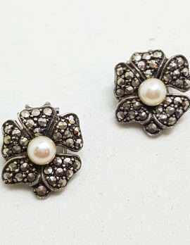 Sterling Silver Vintage Marcasite Screw-On Earrings - Flower with Pearl