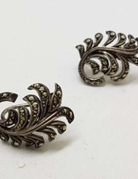 Sterling Silver Vintage Marcasite Clip -On Earrings - Leaf Spray