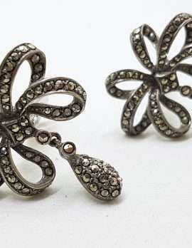 Sterling Silver Vintage Marcasite Clip-On Earrings - Large Bow with Drop