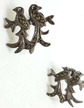 Sterling Silver Vintage Marcasite Screw-On Earrings - Two Lovebirds / Birds