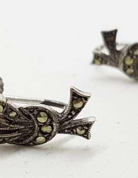 Sterling Silver Vintage Marcasite Screw-On Earrings - Heather Spray