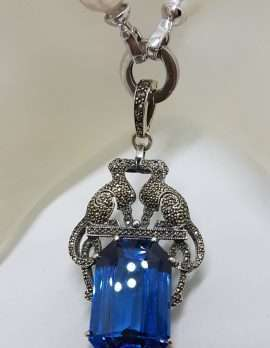 Sterling Silver Large Marcasite Blue Cartier Inspired Cat / Panther / Puma / Leopard Enhancer Pendant on Baroque Pearl Necklace/Chain