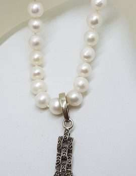 Sterling Silver Long Marcasite Puma / Cat / Panther / Leopard Head Drop Enhancer Pendant on Pearl Chain / Necklace