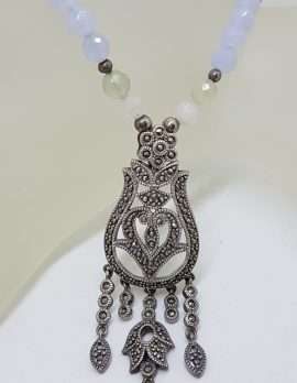 Sterling Silver Large Ornate Filigree Marcasite Pendant Attached to Blue and White Bead Necklace / Chain