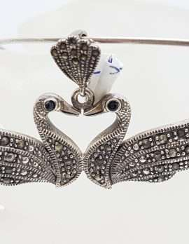 Sterling Silver Marcasite Two Swan Bird Pendant on Silver Choker