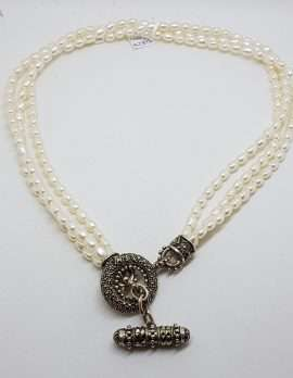 Sterling Silver Marcasite Circular T-Bar Clasp Pearl Strand Necklace / Chain