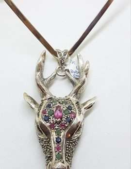 Sterling Silver Very Large Stag/Reindeer Head with Marcasite, Ruby, Sapphire and Emerald - Pendant on Silver Choker Chain / Necklace