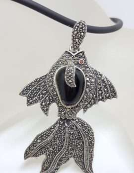Sterling Silver Large Marcasite and Onyx Koi Fish Pendant on Neoprene Chain / Necklace