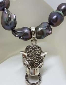 Sterling Silver Large Marcasite Puma / Cat / Panther / Leopard Head Pendant on Thick Black Baroque Pearl Chain / Necklace