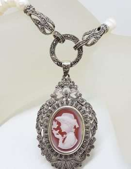 Sterling Silver Large Ornate Marcasite Oval Cameo Pendant / Brooch on Pearl Chain / Necklace