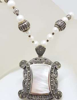 Sterling Silver Large Ornate Marcasite with Mother of Pearl Rectangular Pendant on Pearl Chain / Necklace