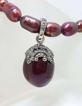 Sterling Silver Marcasite with Red Enamel Egg Enhancer Pendant on Pearl Chain / Necklace