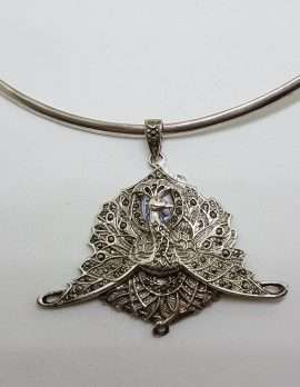 Sterling Silver Marcasite Large Peacock Pendant on Silver Choker Chain / Necklace