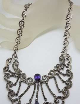 Sterling Silver Very Large & Ornate Marcasite with Purple Cubic Zirconia Collier Chain / Necklace