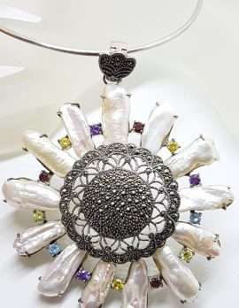 Sterling Silver Very Large Marcasite, Blister Pearl and Multi-Coloured Cubic Zirconia Round Cluster Pendant on Silver Choker Chain / Necklace