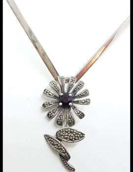Sterling Silver Marcasite and Garnet Flower Pendant on Silver Choker Chain / Necklace