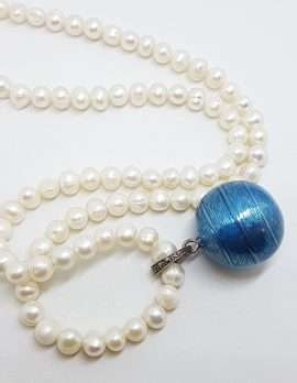 Sterling Silver Marcasite with Blue Enamel Harmony Ball Enhancer Pendant on Pearl Chain / Necklace