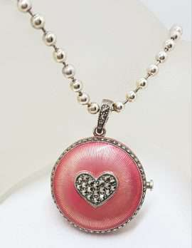 Sterling Silver Marcasite Heart with Pink Enamel Large Round Locket / Compact Enhancer Pendant on Heavy Silver Chain / Necklace