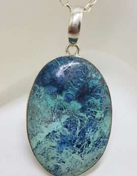 Sterling Silver Large Oval Shattuckite Pendant on Silver Chain