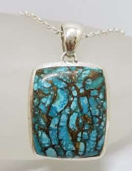 Sterling Silver Large Rectangular Blue Copper Turquoise Pendant on Silver Chain
