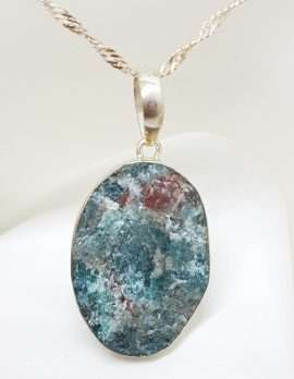 Sterling Silver Large Oval Apatite Pendant on Silver Chain