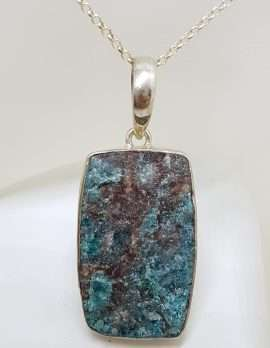 Sterling Silver Large Rectangular Apatite Pendant on Silver Chain