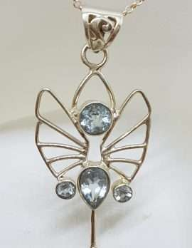 Sterling Silver Long Ornate Filigree Open Design Topaz Art Deco Style Pendant on Silver Chain